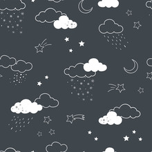 Fun Clouds Seamless Pattern, Hand Drawn Doodles Stars, Clouds, Moon - Great For Textiles, Banners, Wallpapers, Bed Linen - Vector Surface Design
