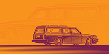 Retro Estate Car Illustration,...