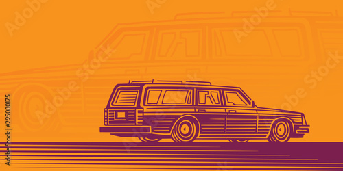 Obraz na plátně Retro estate car illustration, station wagon illustration, card template
