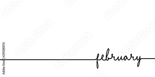 Obraz February - continuous one black line with word. Minimalistic drawing of phrase illustration - fototapety do salonu