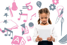 Cute Schoolkid Using Digital Tablet Near Fruits And Music Notes On White