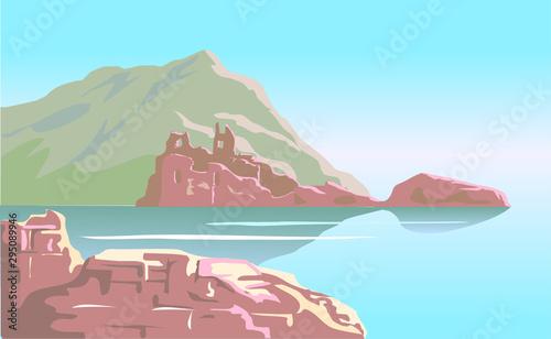 Ruiny starożytnego zamku na tle górskiej wyspy