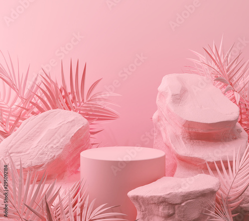 Leinwand Poster abstract pink color geometric Stone and Rock shape background, minimalist mockup for podium display or showcase, 3d rendering