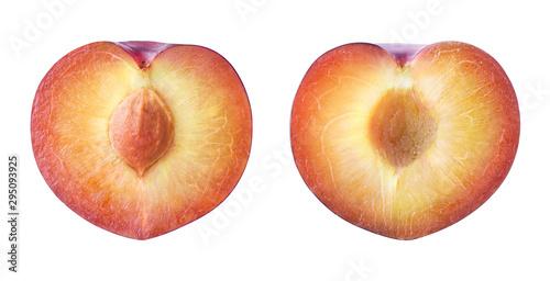 Fotografie, Obraz  Sliced plum isolated on white