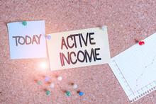 Handwriting Text Writing Active Income. Conceptual Photo Royalties Salaries Pensions Financial Investments Tips Corkboard Color Size Paper Pin Thumbtack Tack Sheet Billboard Notice Board