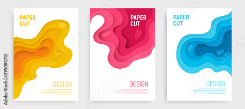 Paper cut banner set with 3D slime abstract background and blue, pink, yellow waves layers Canvas Print