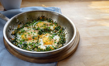 Pan With Spinach And Fried Egg...