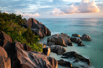 FototapetaBeautiful sunset on la digue island , saychells