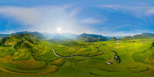 360 Panorama By 180 Degrees Angle Seamless Panorama View Of Paddy Rice Terraces, Green Agricultural Fields In Rural Area Of Mu Cang Chai, Mountain Hills Valley In Vietnam. Nature Landscape Background.