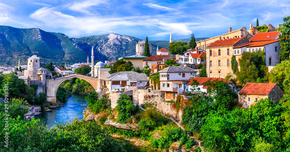 Fototapety, obrazy: Amazing iconic old town Mostar with famous bridge in Bosnia and Herzegovina