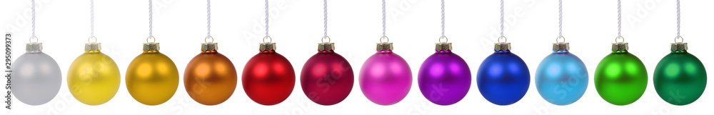 Fototapety, obrazy: Colorful Christmas balls baubles banner decoration in a row isolated