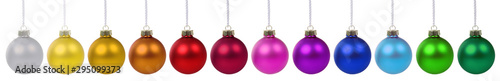 Obraz Colorful Christmas balls baubles banner decoration in a row isolated - fototapety do salonu