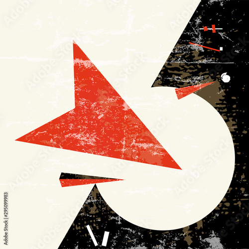 abstract geometric background composition, with arrows, circle, strokes and splashes, grungy