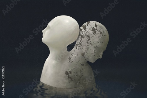 Contrast emotional human head surreal painting Wallpaper Mural