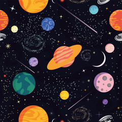 Seamless vector pattern. Space, universe. Abstract background. Different colored planets (planets of the Solar system and fantastic), stars, comets, galaxies. Starry sky. Outer space template.