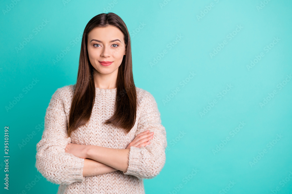 Fototapety, obrazy: Copyspace photo of charming cute lovely dreamy girlfriend standing with hands folded wearing jumper isolated over turquoise vivid color background