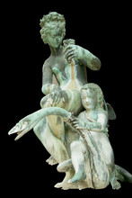 Olympic Goddess Of Love Aphrodite (Venus) With Cupid Sitting On Swan. Ancient Statue.