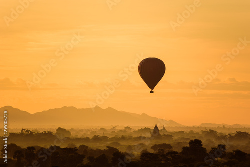 Recess Fitting Balloon Sunrise over Bagan with Ballon at a foggy sky, Myanmar temples in the Archaeological Park