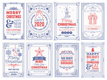 Ornate Square Winter Holidays Greeting Cards With New Year Tree, Reindeers, Christmas Ornaments, Peace Doves, Swirl Frames And Typographic Design