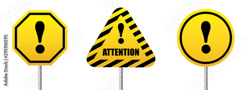 Set road sign Attention bright yellow symbol Canvas Print