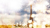 Fototapeta Fototapety Paryż - romantic New Year destination Eiffel tower with fireworks Paris, France