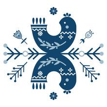 Folk Art Vector Ornament With Symbols, Birds, And Flowers. Scandinavian Design.