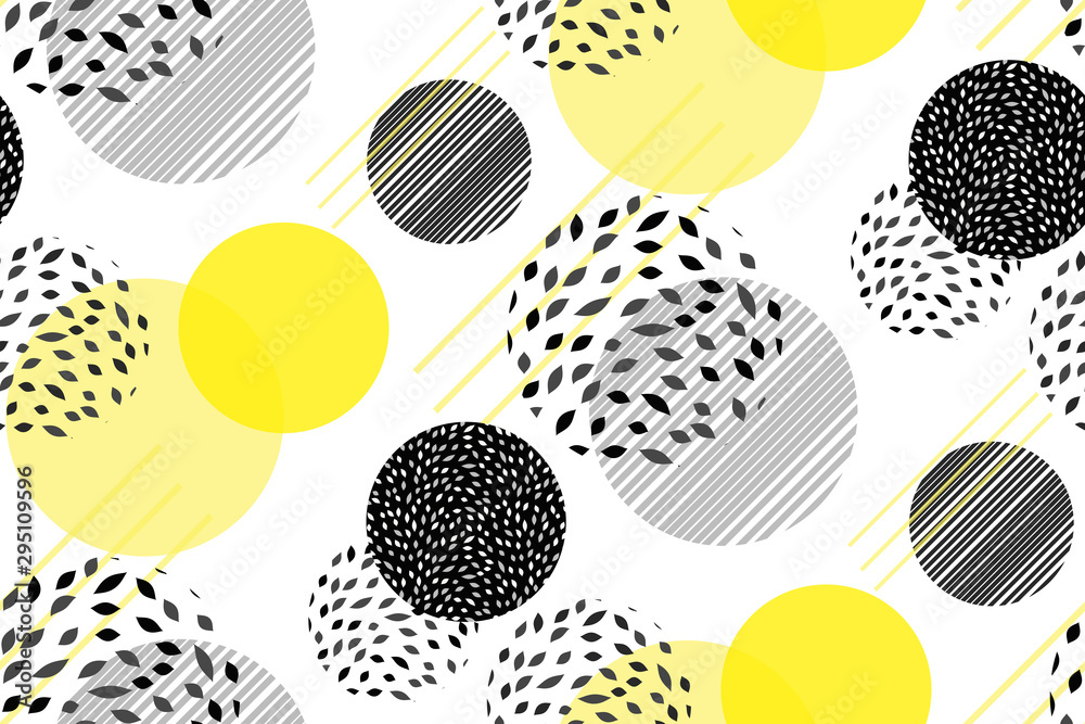 Vector circles abstract seamless pattern background. Art dots modern template with bright yellow elements composition. Memphis. Minimalistic design, Wallpaper, geometric pattern swatch. Vector.