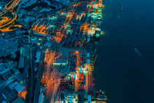 Business International Trade And Cargo Containers On Export-import Harbor To The International Port / Cargo Ship - Cargo To Harbor.Aerial Veiw Of Sea Freight