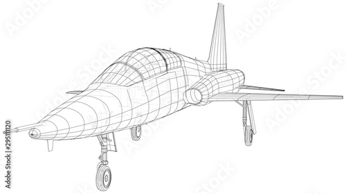 Airplane jet sketch. Vector rendering of 3d. Wire-frame style.