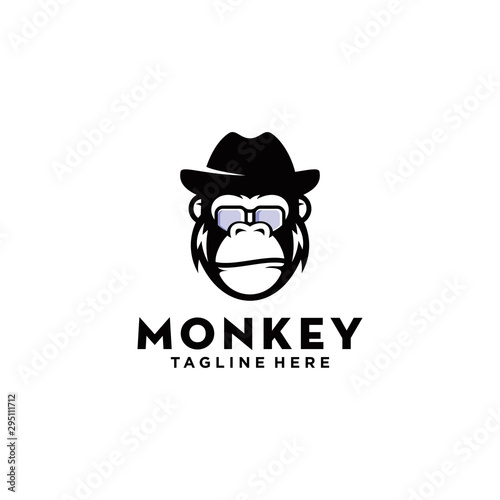 awesome geek monkey logo design Fototapet