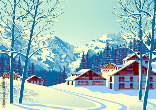 Fotografia Alpine village with forest and mountains in the background.