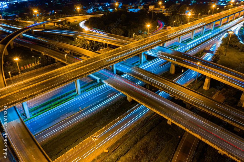 Modern Clever transportation with Expressway top aerial view, highway Road traffic an important infrastructure, Road and Roundabout.