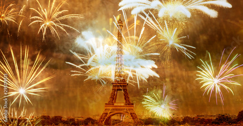 Poster Tour Eiffel romantic New Year destination Eiffel tower with fireworks Paris, France