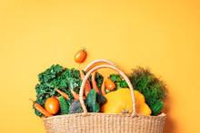 Straw Basket With Organic Vege...