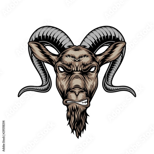 Colorful angry horned goat head Wall mural