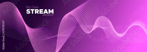 Particle Motion. Violet Big Data Concept. Purple Wallpaper Mural