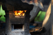 Outside Oven In Fire Flames