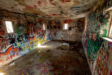 Old Fort Room With Graffiti