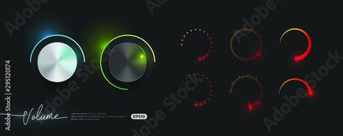 3d realistic metallic control knob set with collection of volume indicator template eps10 vector, neon glow style