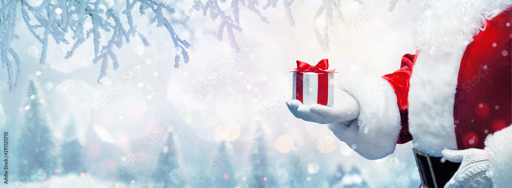 Fototapety, obrazy: Christmas present from Santa Claus. Winter Holiday Background