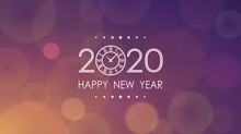 Happy New Year 2020 With Clock And Abstract Lens Flare Pattern In Vintage Color Background