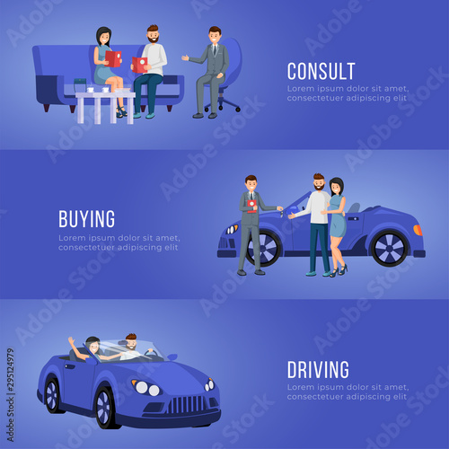 Photo sur Aluminium Cartoon voitures Automobile showroom advertising banner vector template. Personal vehicle, transportation dealership service poster layout. Salesman and happy customers buying car flat illustration with text space