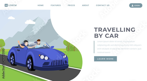 Fotobehang Cartoon cars Car traveling landing page vector template. Personal transportation rental service website homepage interface idea with flat illustration. Test drive, family journey web banner cartoon concept