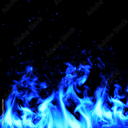 Fototapety, obrazy: Blue fire wall concpet design. illustration.