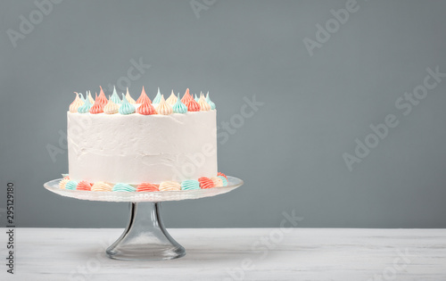 white Birthday Cake with pastel icing Wallpaper Mural