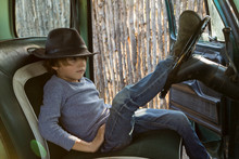 6 Year Old Boy  In 1970's Era Pick Up Truck