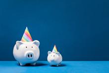 Piggy Banks Wearing Birthday P...