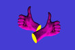 canvas print picture - Contemporary minimalistic art collage in neon bold colors with hands showing thumbs up. Like sign surrealism creative wallpaper.
