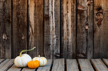 Three Small Fall Gourds On A Rustic Plank Table With Room For Copy