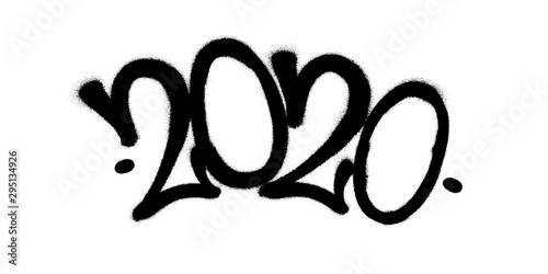Sprayed 2020 tag graffiti with overspray in black over white Canvas Print